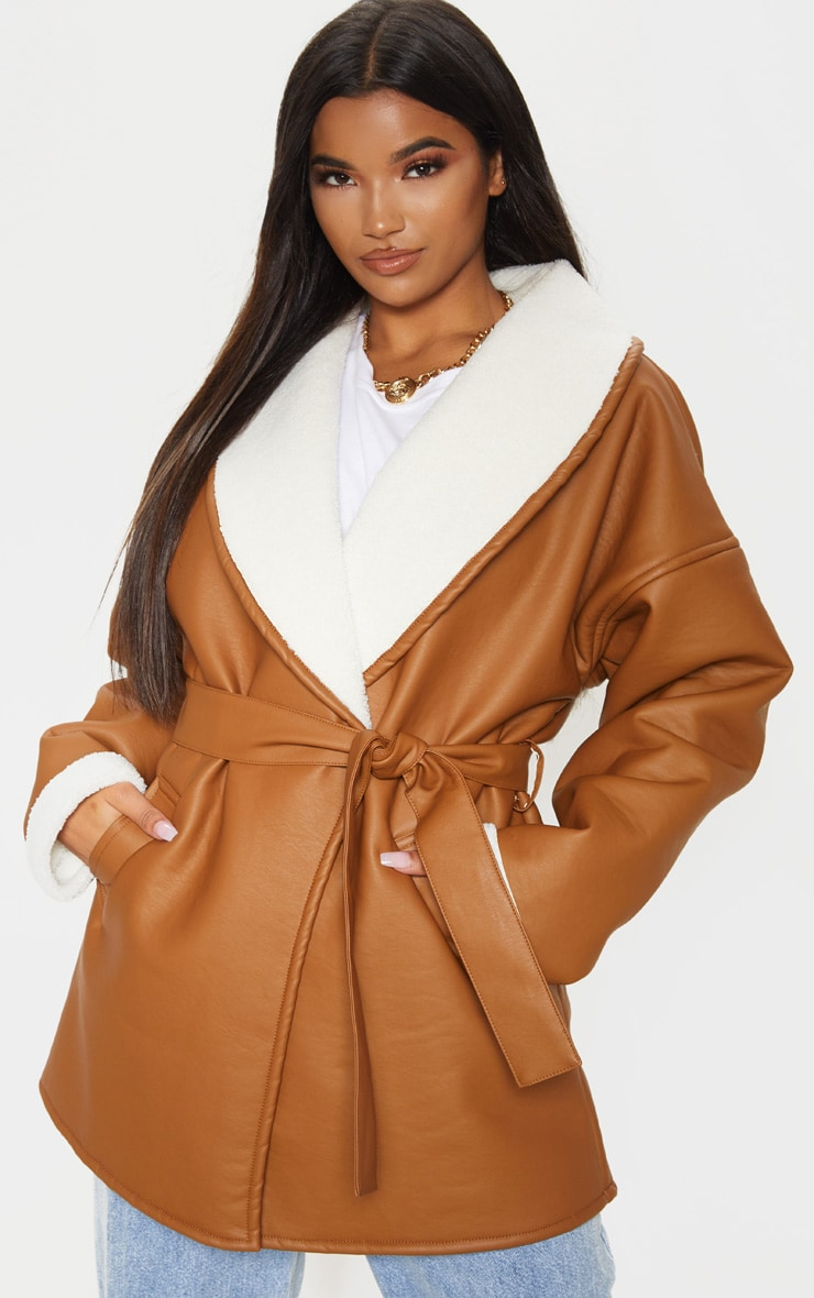Tan Aviator PU Tie Waist Long Sleeve Jacket 1