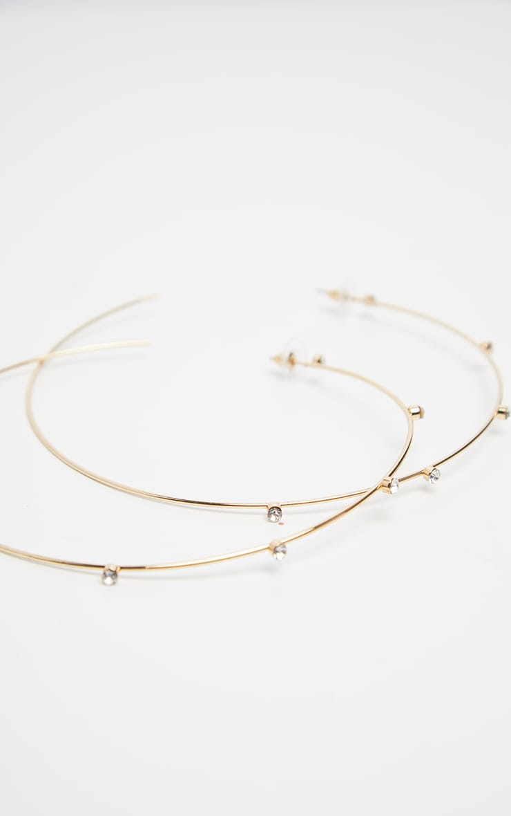 Gold Large Diamante Studded Hoop Earrings 2