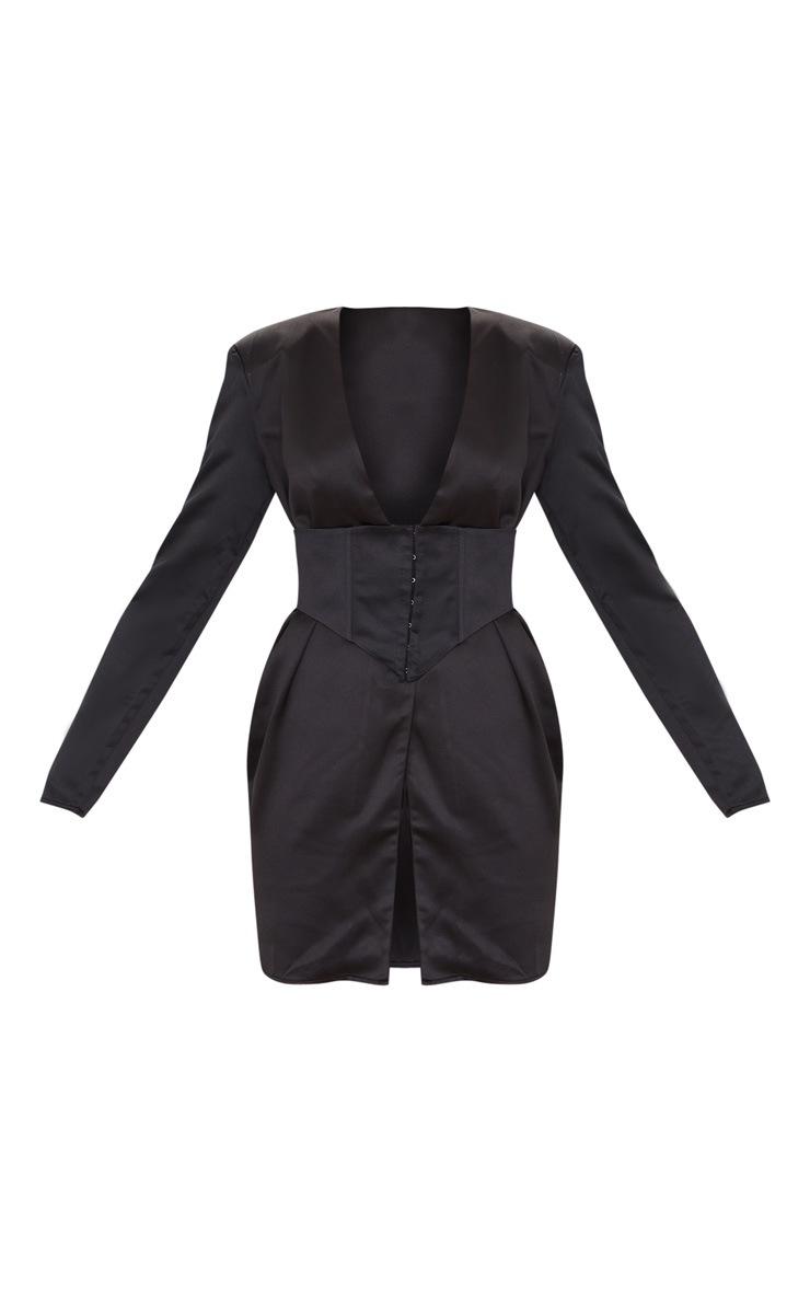 Robe moulante satinée noire à détail corset et manches longues 5