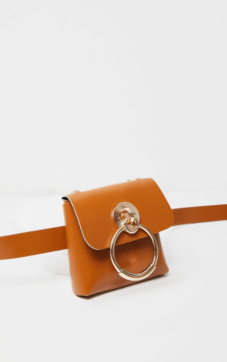 Tan PU Door Knocker Trim Multiwear Belt Bag 2