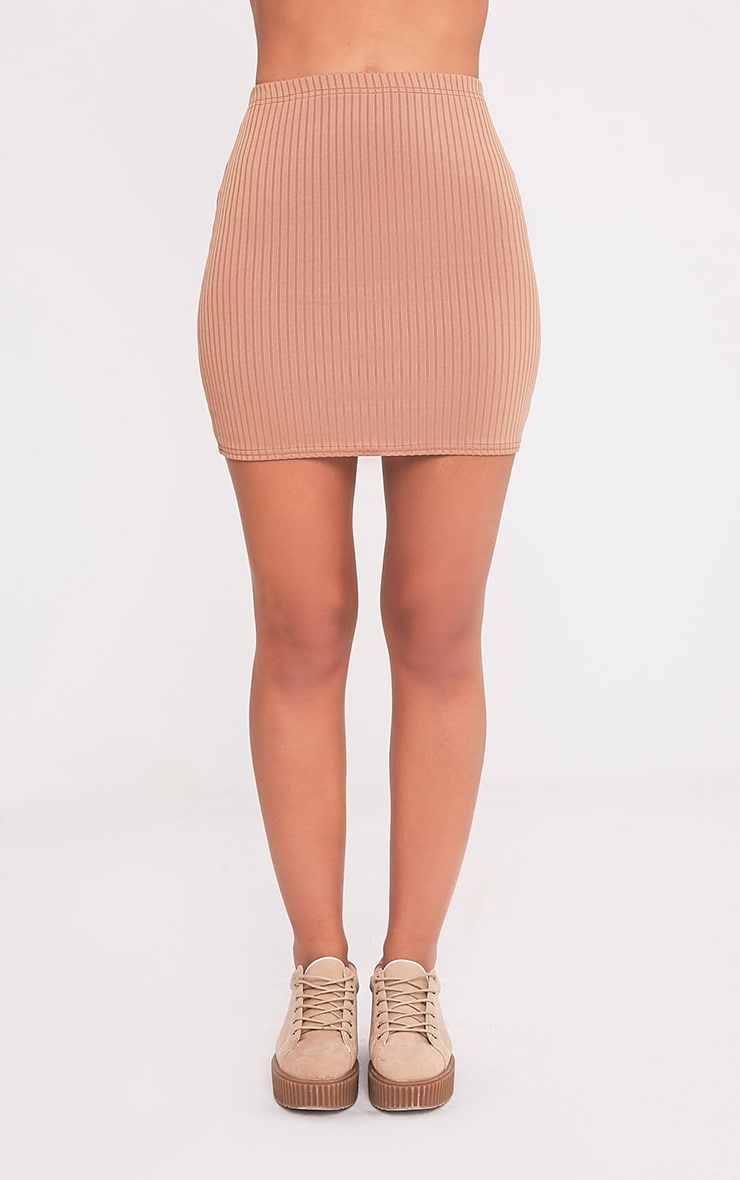 Kristine Camel Ribbed Mini Skirt 2