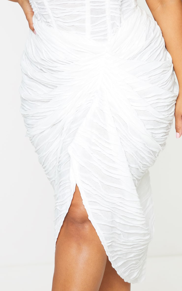 Plus White Textured Ruch Side Midi Skirt  5