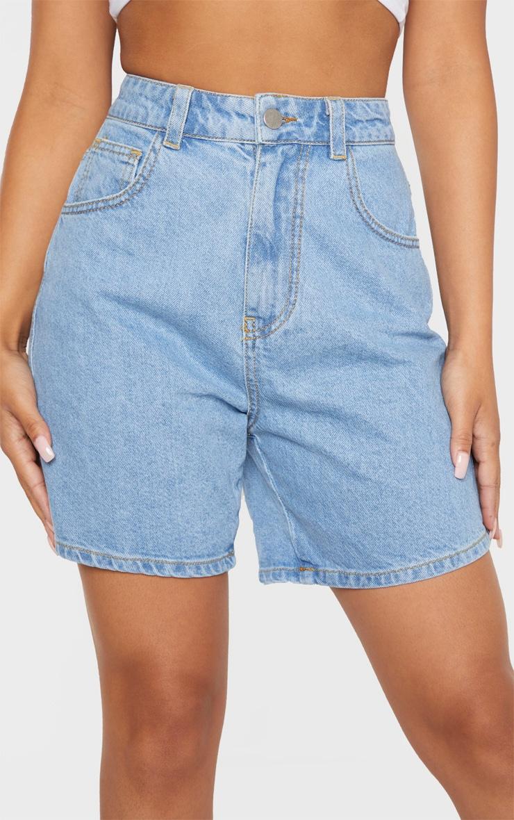 Petite Light Wash Mom Denim Shorts 6