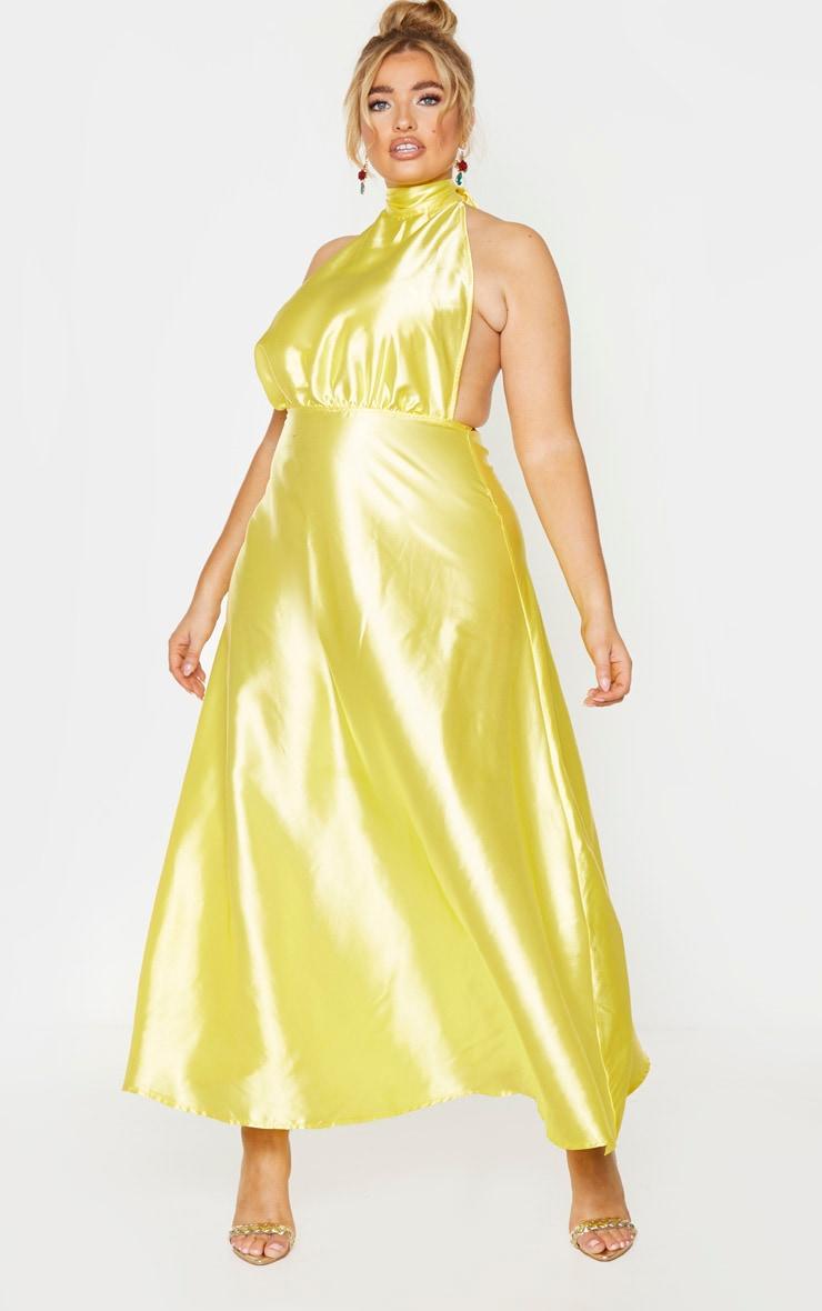 Plus Bright Yellow Satin Halterneck Maxi Dress 1