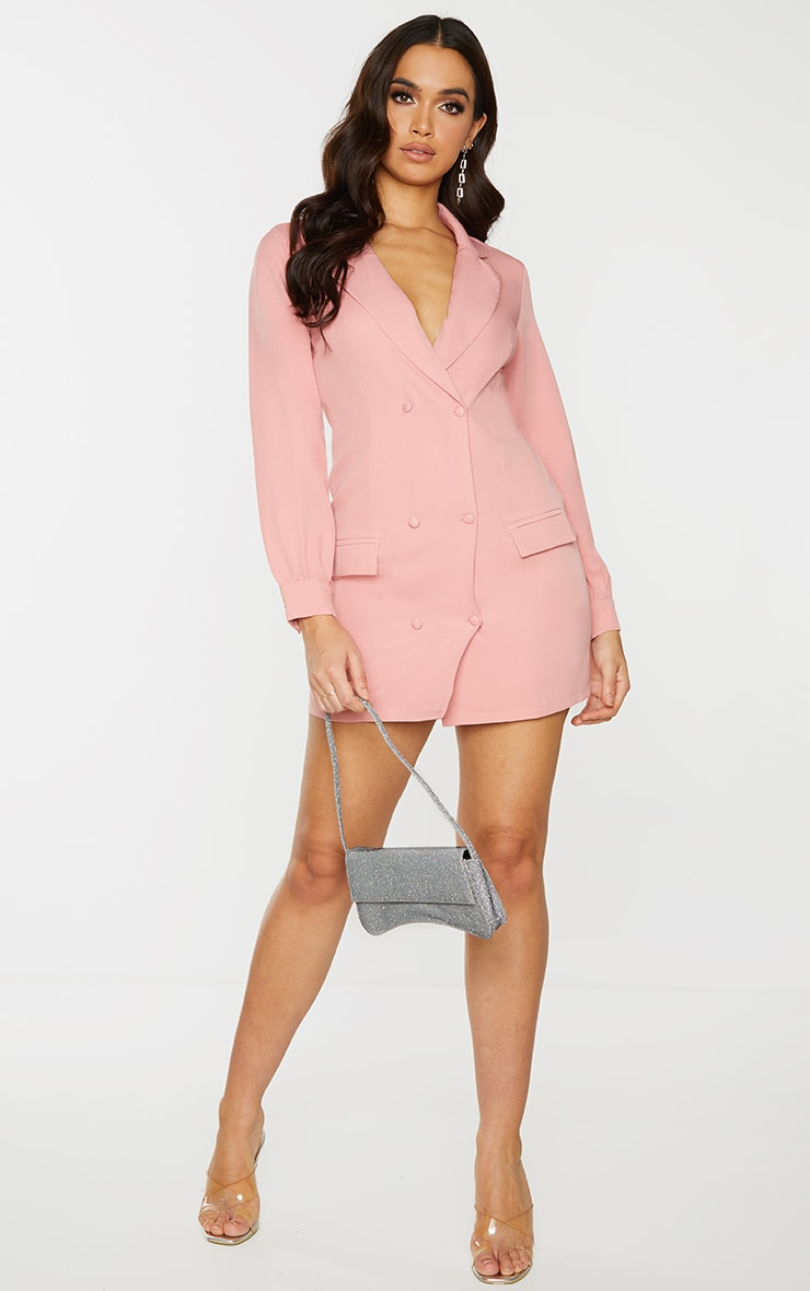 Rose Woven Double Breasted Blazer Dress 3