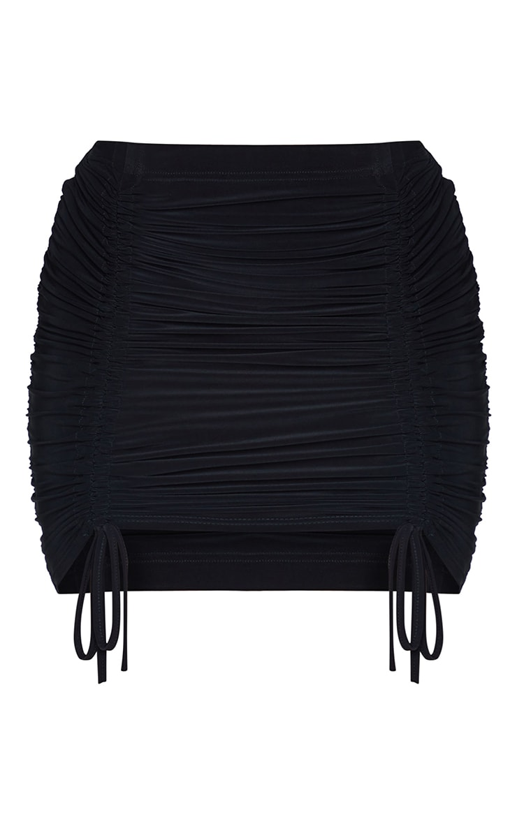 Shape Black Slinky Extreme Ruched Bodycon Skirt 6