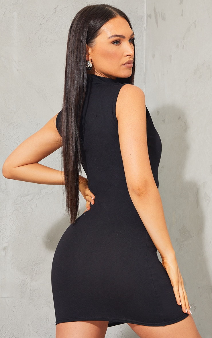 PRETTYLITTLETHING Black Embroidered Sleeveless Collar Detail Bodycon Dress 2