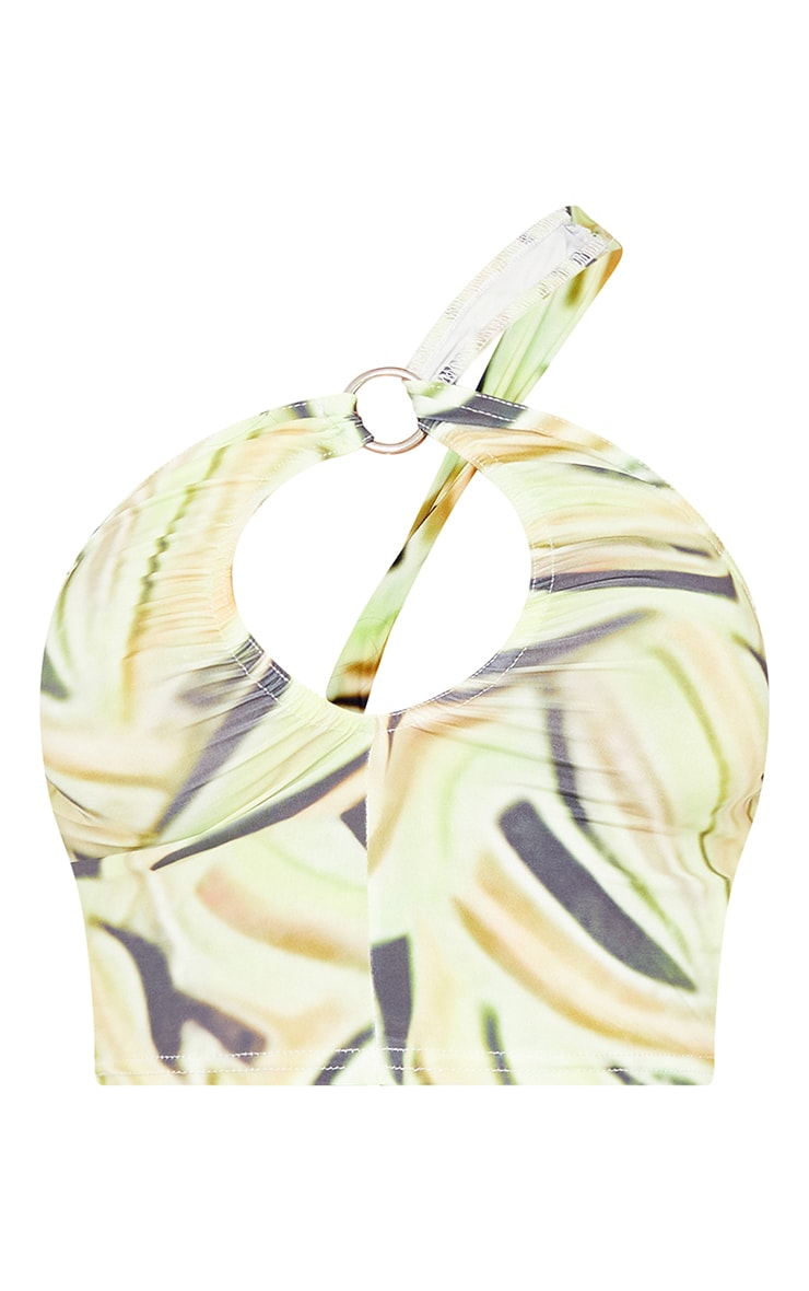 Lime Abstract Leaf Print Slinky Asymmetric Cut Out Crop Top 5