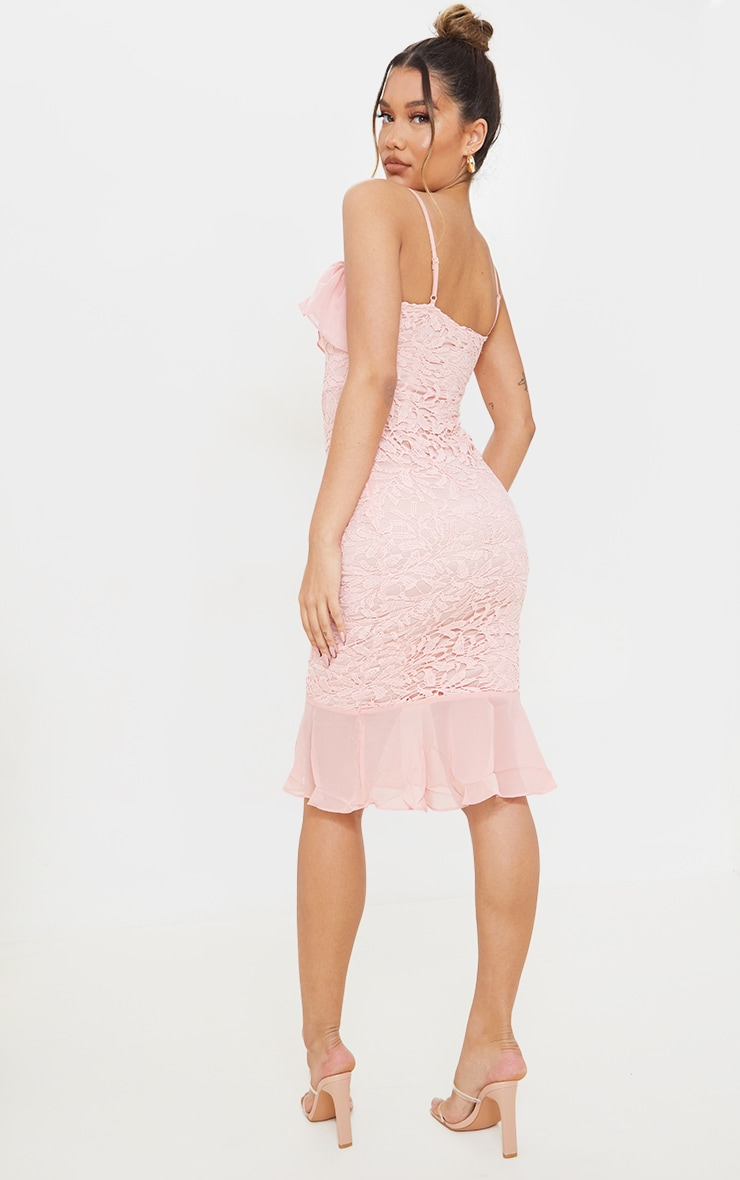 Dusty Pink Chiffon Frill Strappy Lace Midi Dress 2