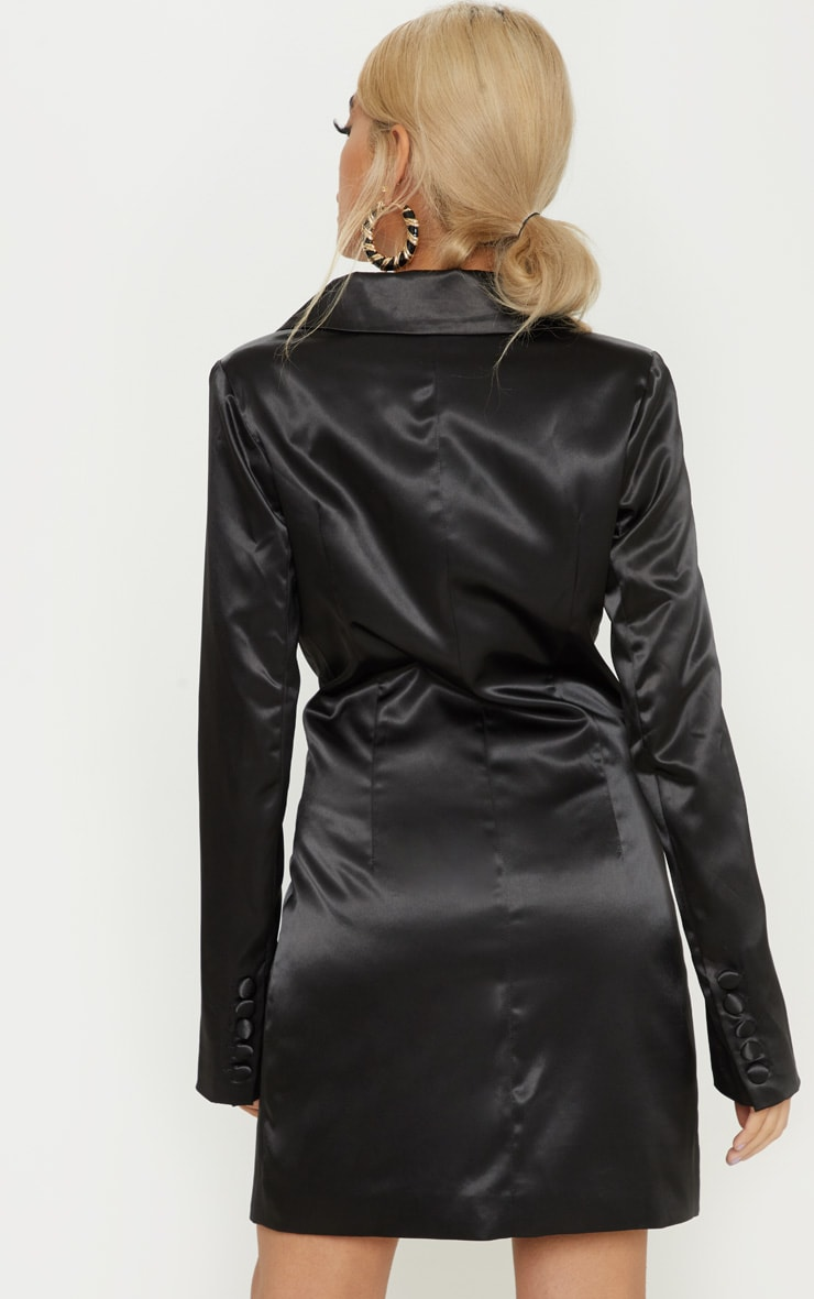 Petite Black Satin Button Detail Blazer Dress 2