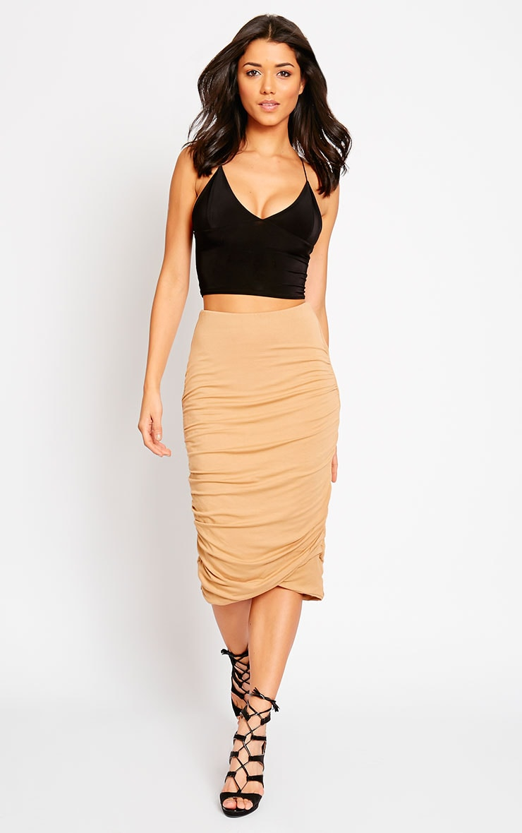 Asia Camel Jersey Ruched Midi Skirt 1