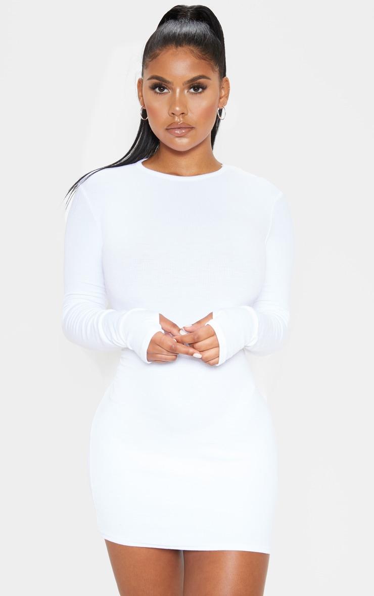 Basic White Cotton Blend Long Sleeve Thumb Hole Bodycon Dress 1