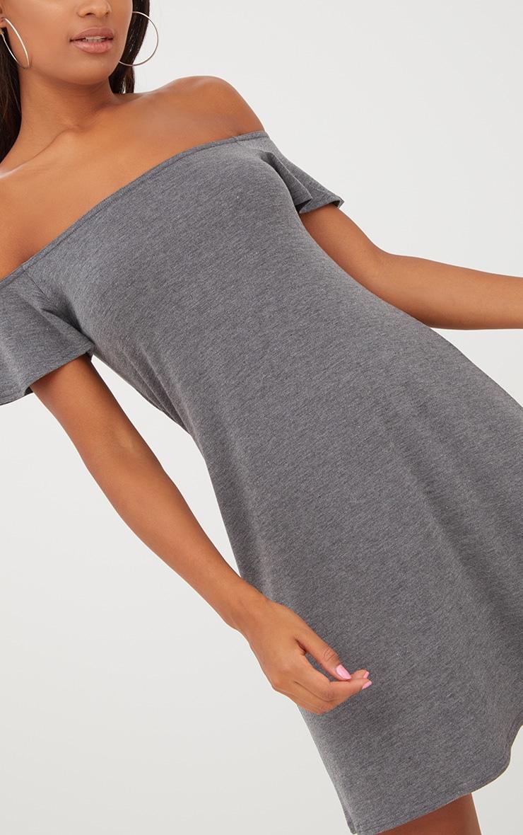 Manina Charcoal Jersey Bardot Shift Dress 5