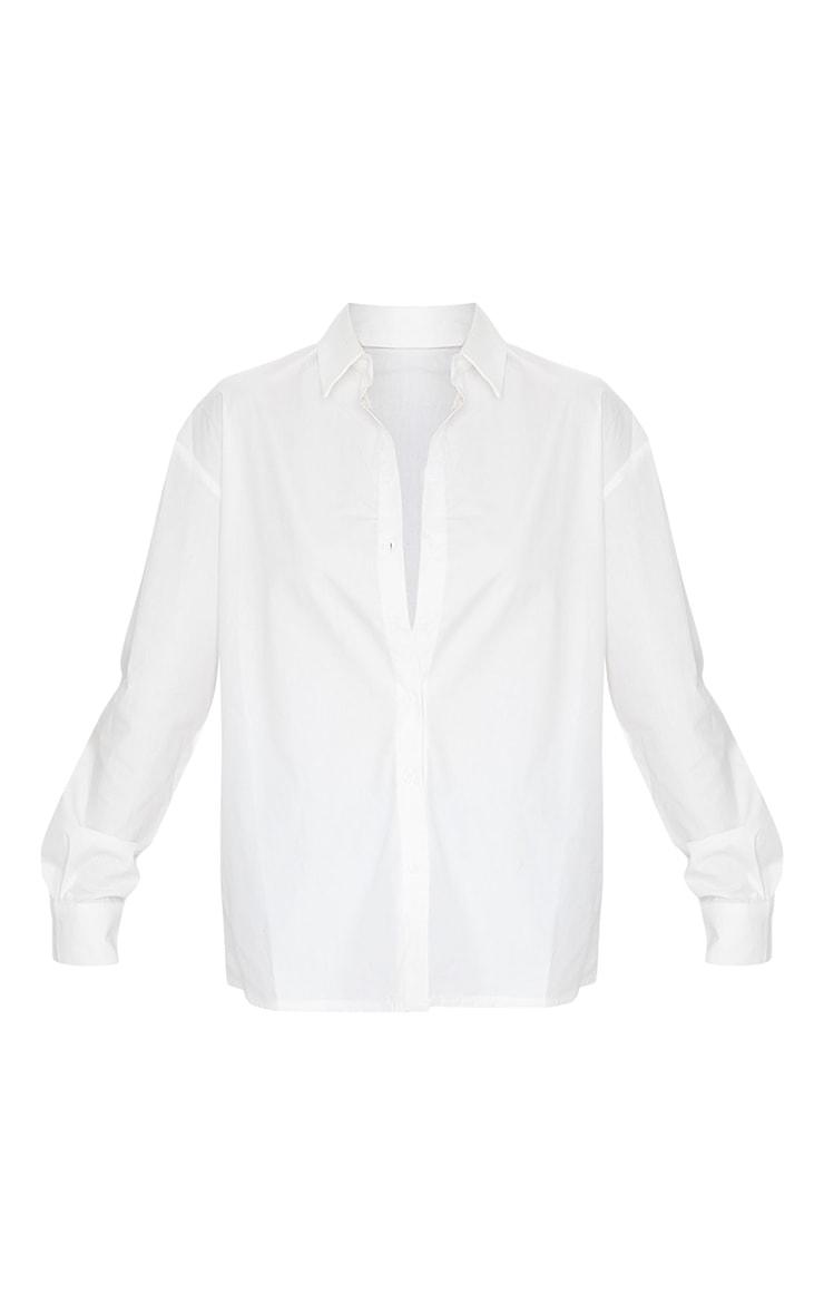 White Button Cotton Oversized Shirt 5
