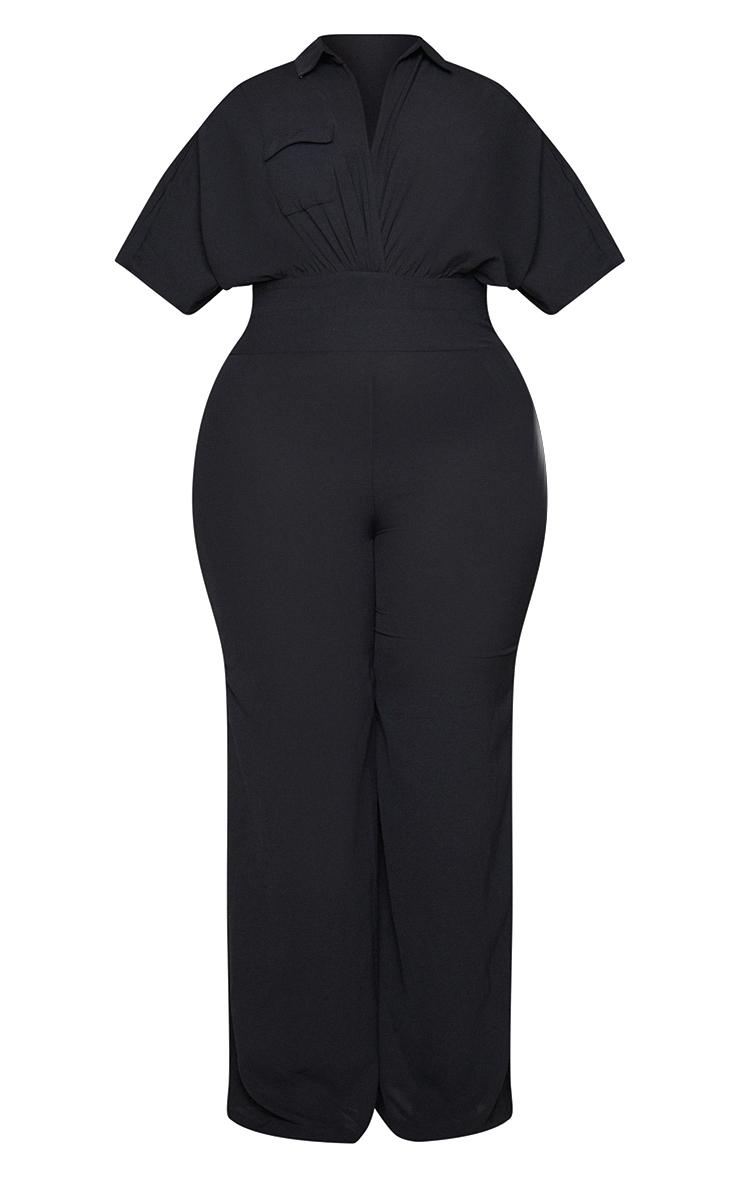 Plus Black Plunge Wrap Top Jumpsuit 5