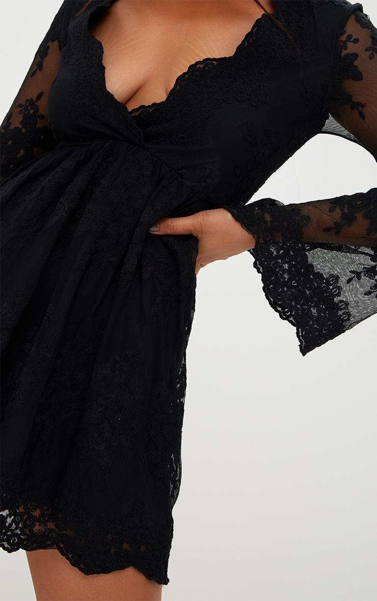 Black Lace Plunge Bell Sleeve Skater Dress  5