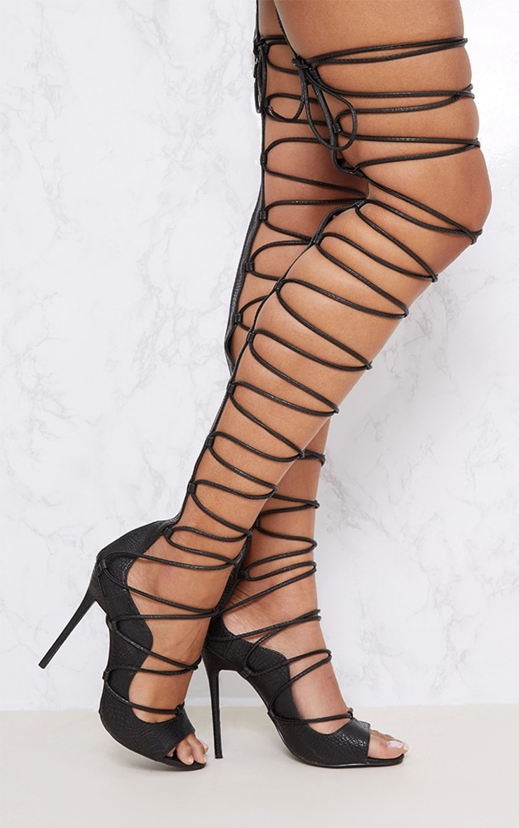 Black Thigh High Lace Up Heels 2