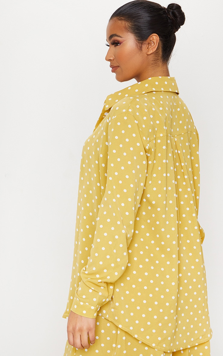 Mustard Polka Dot Printed Oversized Shirt 2