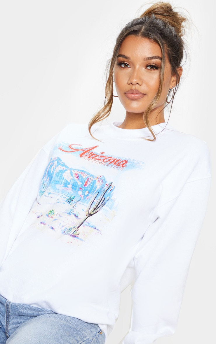 White Arizona Print Oversized Sweater 5