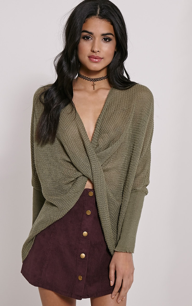 Lynix Khaki Twist Front Knitted Top 1