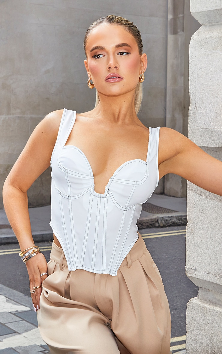 White Woven Cup Detail Contrast Stitch Boned Corset