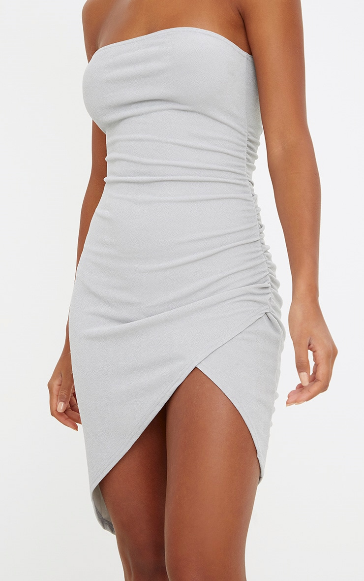 Ice Grey Bandeau Wrap Ruched Front Bodycon Dress 5