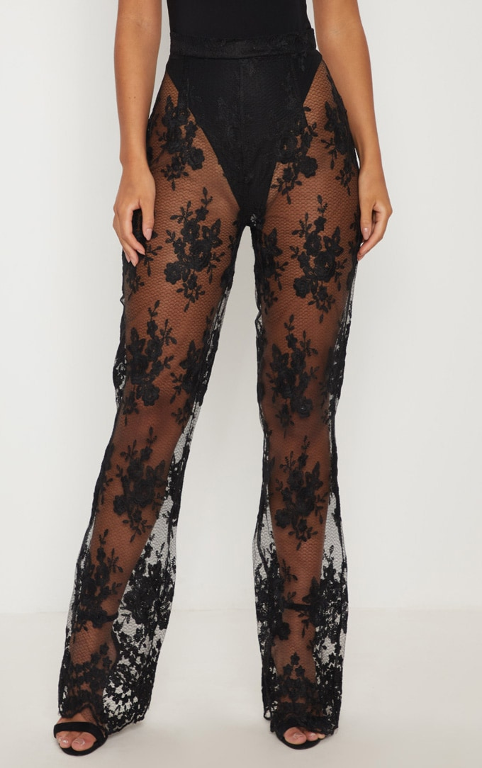 Black Occasion Sheer Lace Flare Leg Pants 2