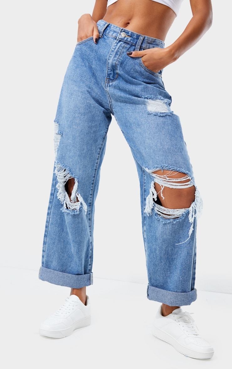 PRETTYLITTLETHING Mid Blue Wash Open Knee Ripped Turn Up Boyfriend Jeans 2