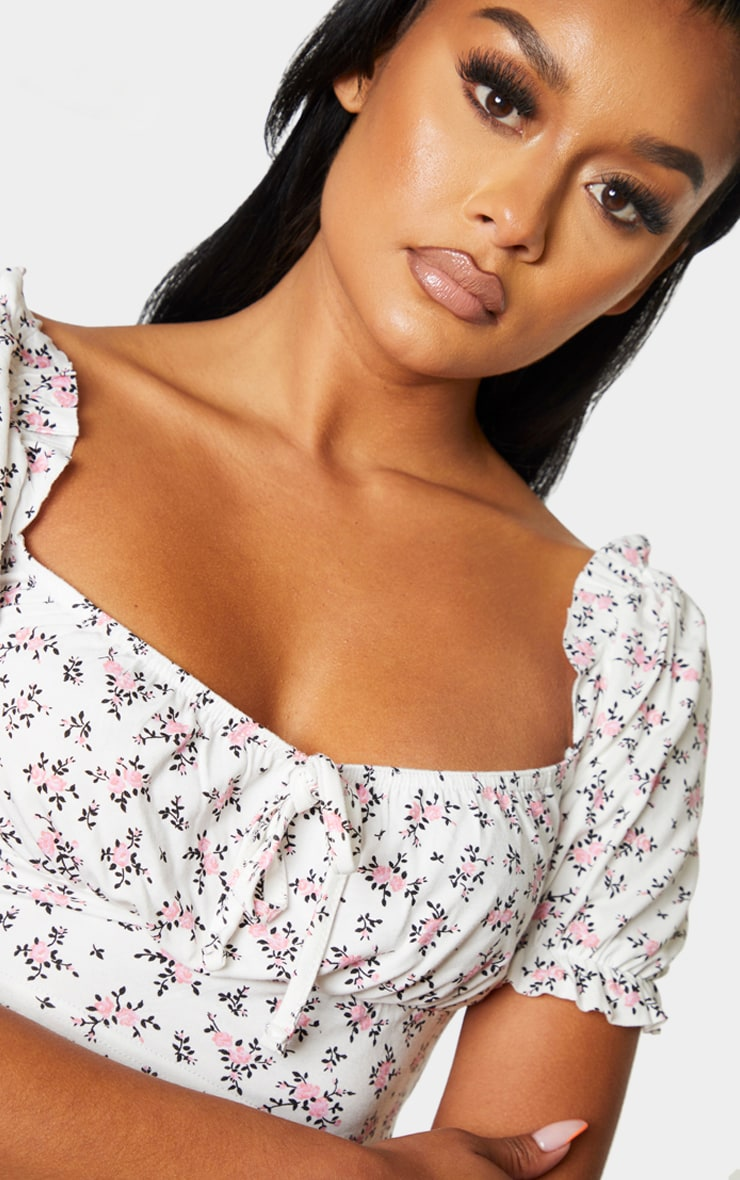 White Printed Jersey Puff Sleeve Frill Edge Crop Top 4