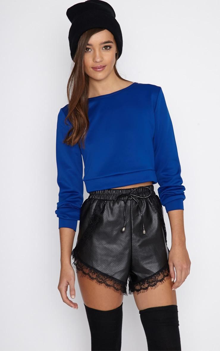 Grace Blue Cropped Scuba Sweater 1