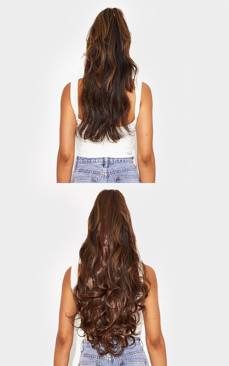 Lullabellz Ultimate Half Up Half Down 22 Curly Extension and Pony Set Warm Brunette 4