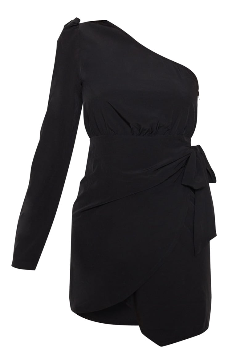 Black One Sleeve Tie Shift Dress 3
