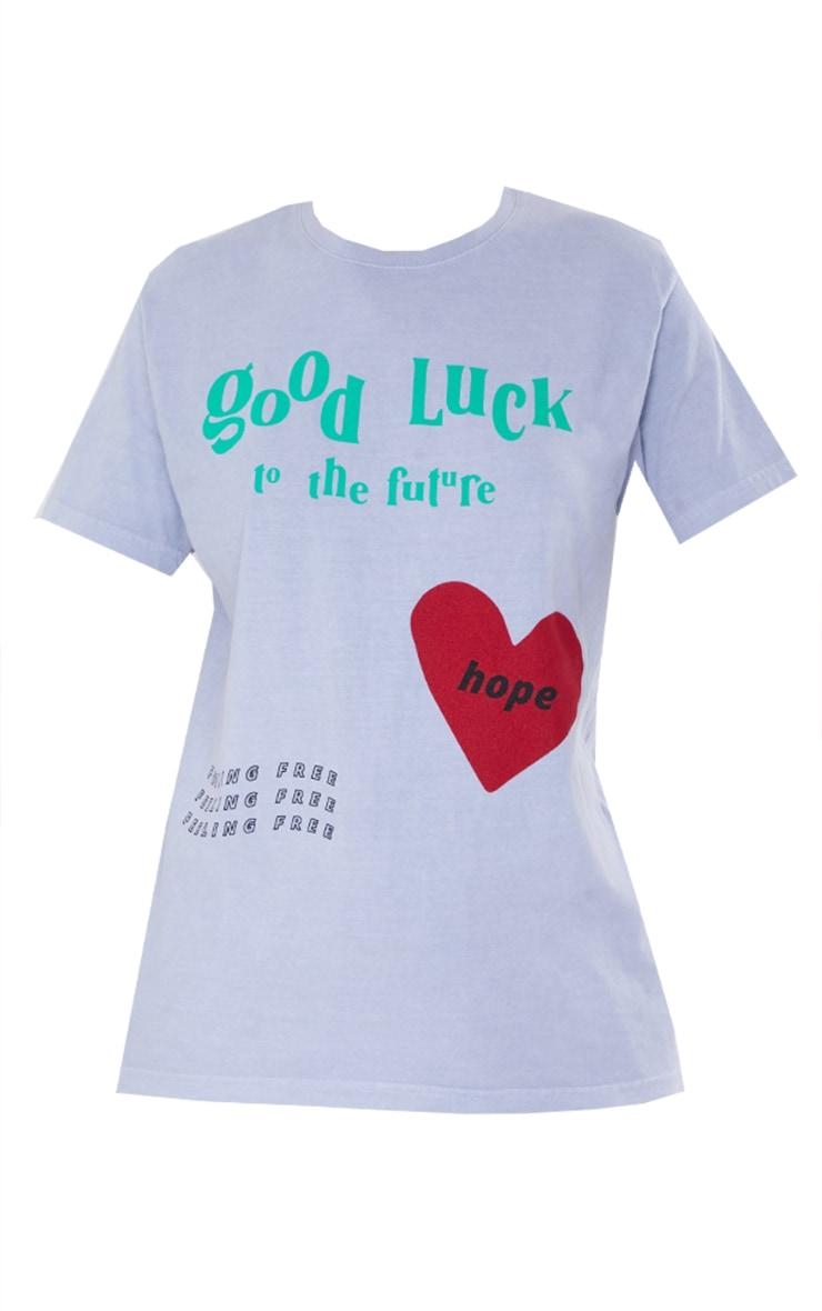Tee-shirt gris délavé imprimé Good Luck et coeur 5
