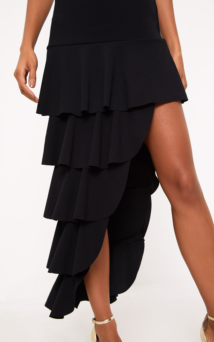 Black Tiered Split Midi Skirt 5