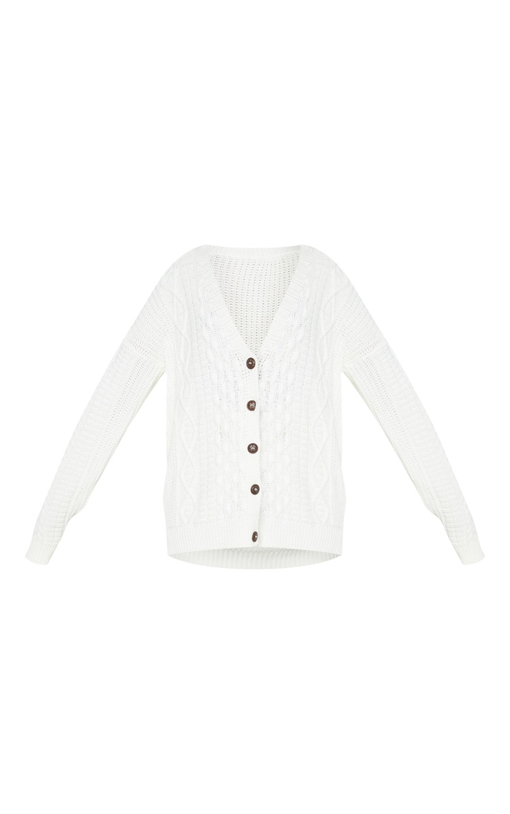Cream Oversized Cable Knit Cardigan 3