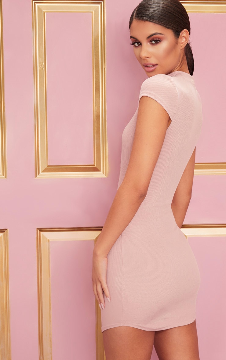 Rose High Neck Ribbed Bodycon Dress 2