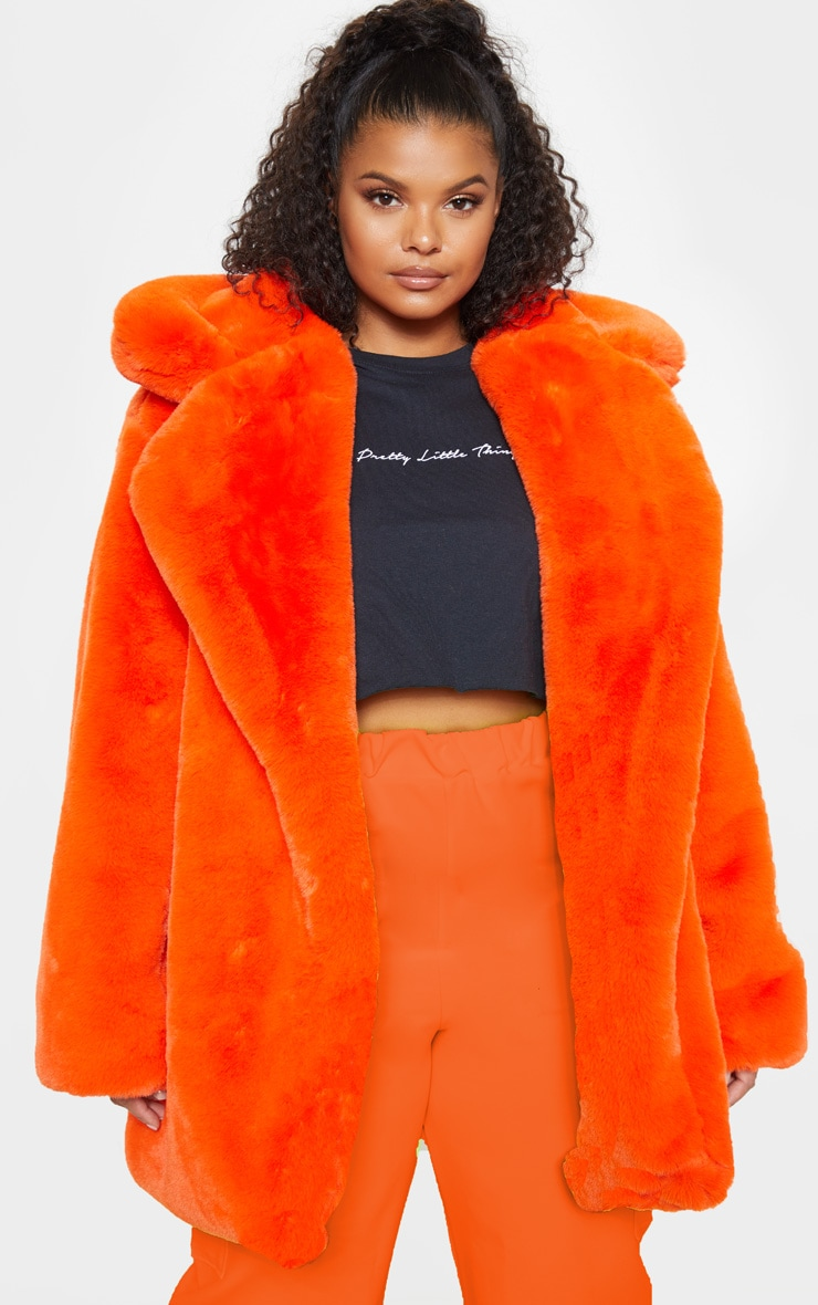 Plus Orange Faux Fur Oversized Collar Coat 2