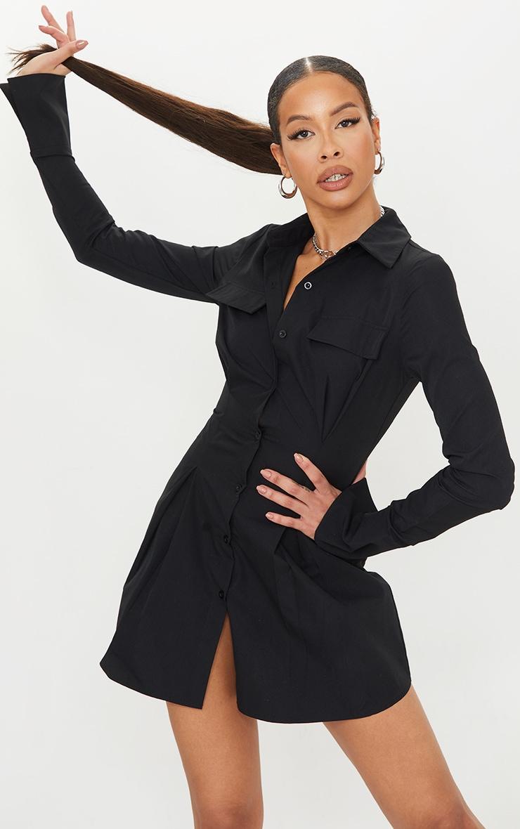 Tall Black Pocket Detail Cargo Cinched Waist Shirt Dress 1