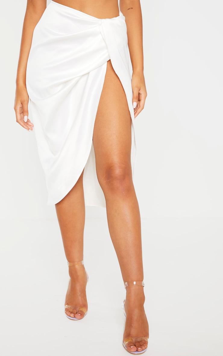 White Satin Twist Front Midi Skirt 2