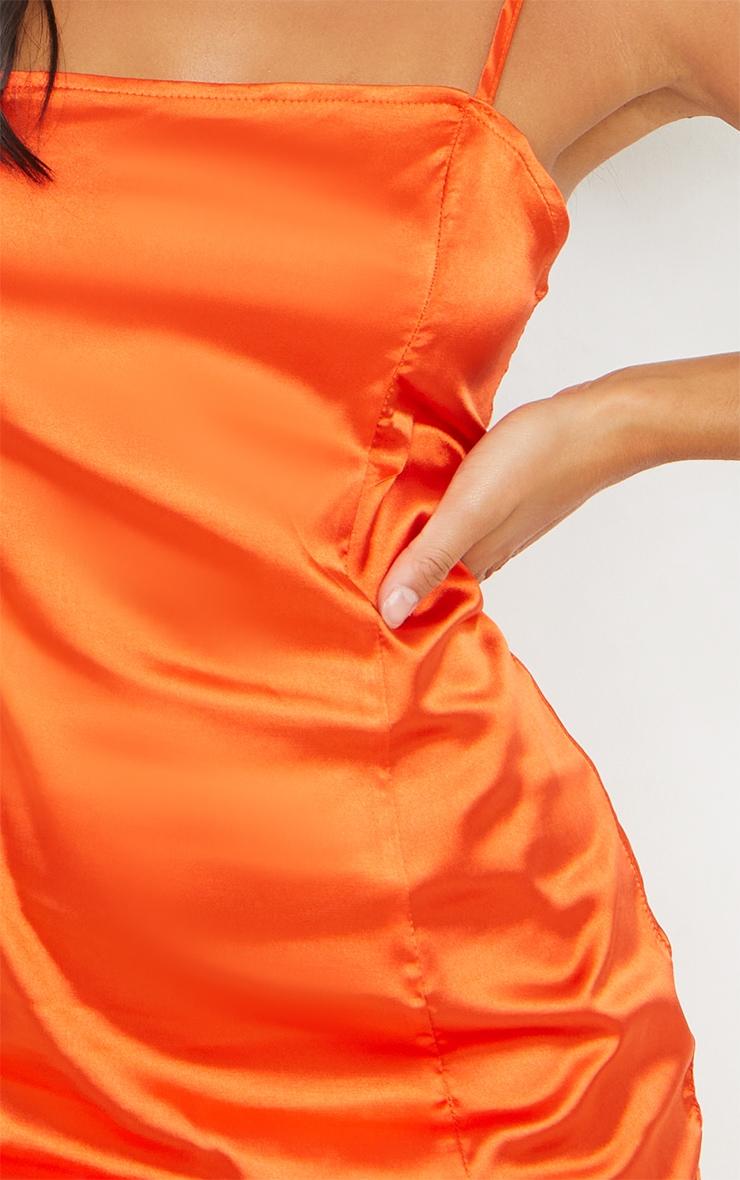 Petite Burnt Orange Satin Strappy Straight Neck Bodycon Dress 4