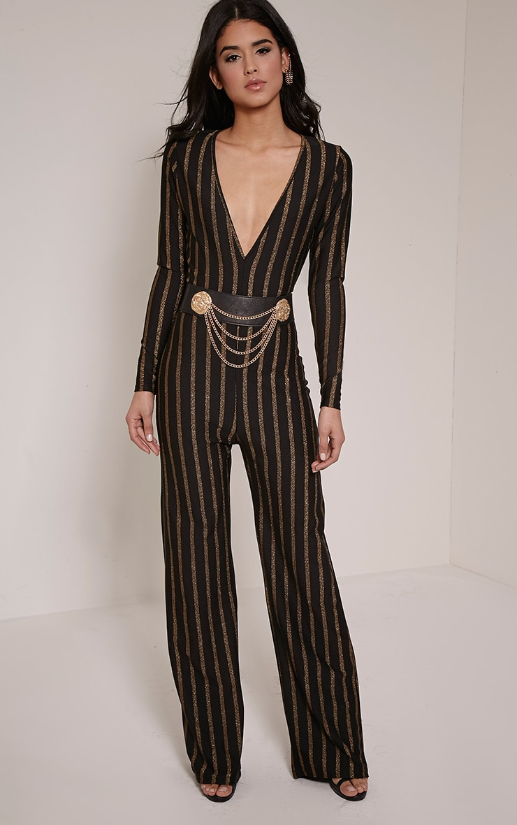 Arrie Gold Stripe Plunge Jumpsuit 1