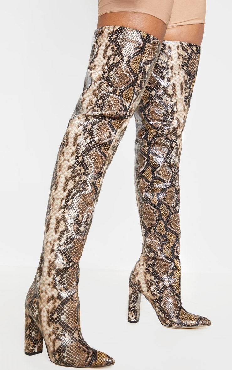 Snake Thigh High Point Block Heel Boot 1