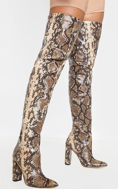 Snake Thigh High Point Block Heel Boot