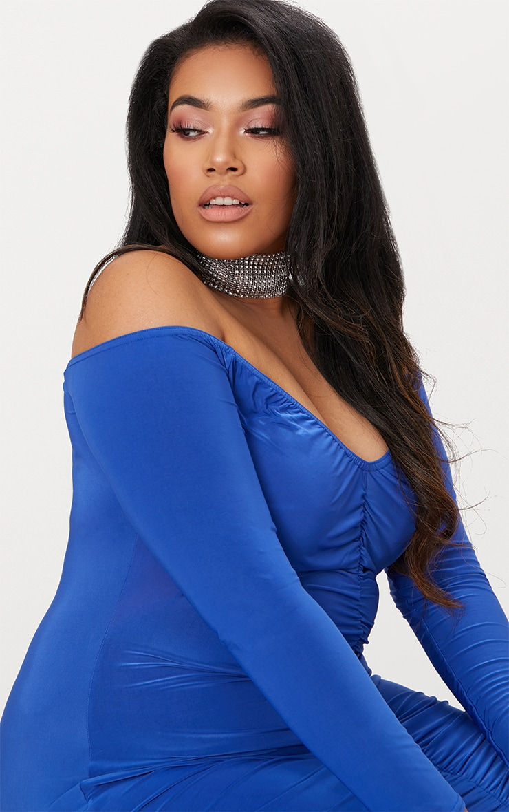 Plus Cobalt Bardot Bodycon Dress 5