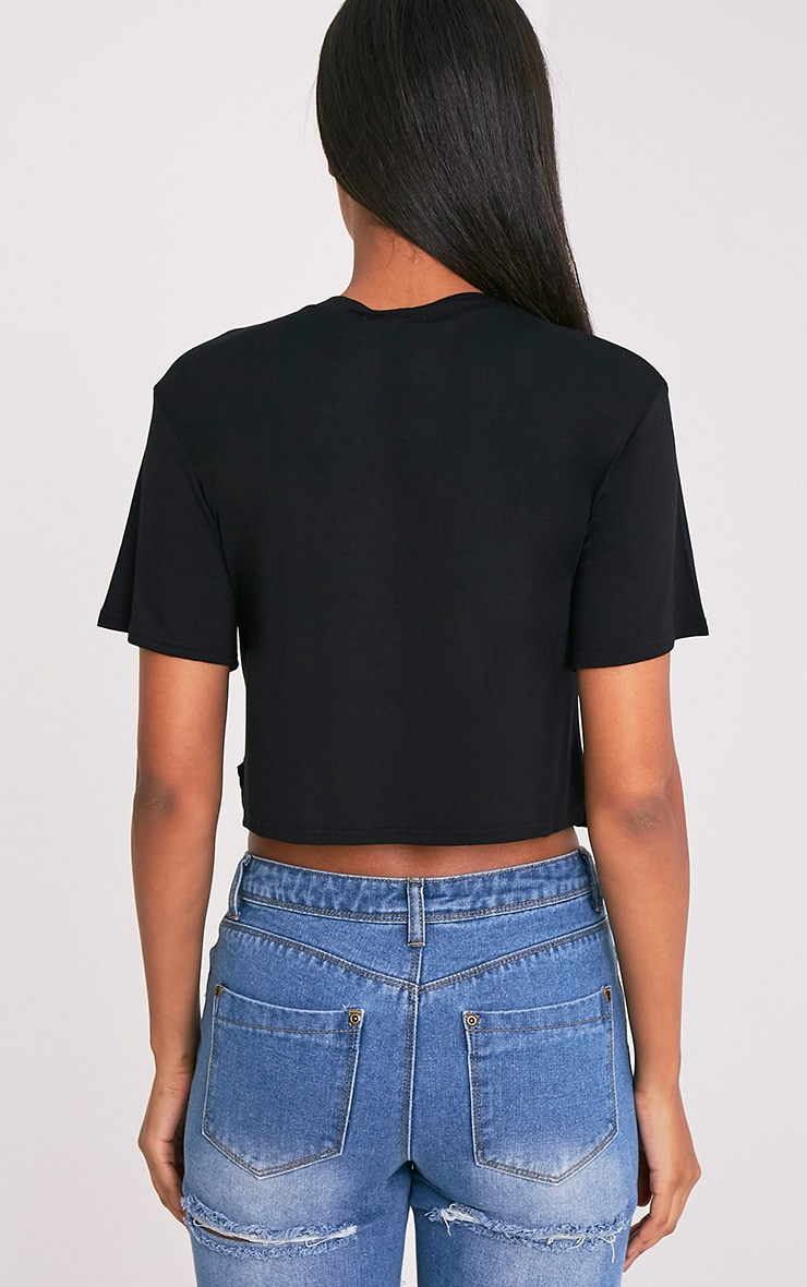 Not Your Side Chick Slogan Black Cropped T Shirt 2