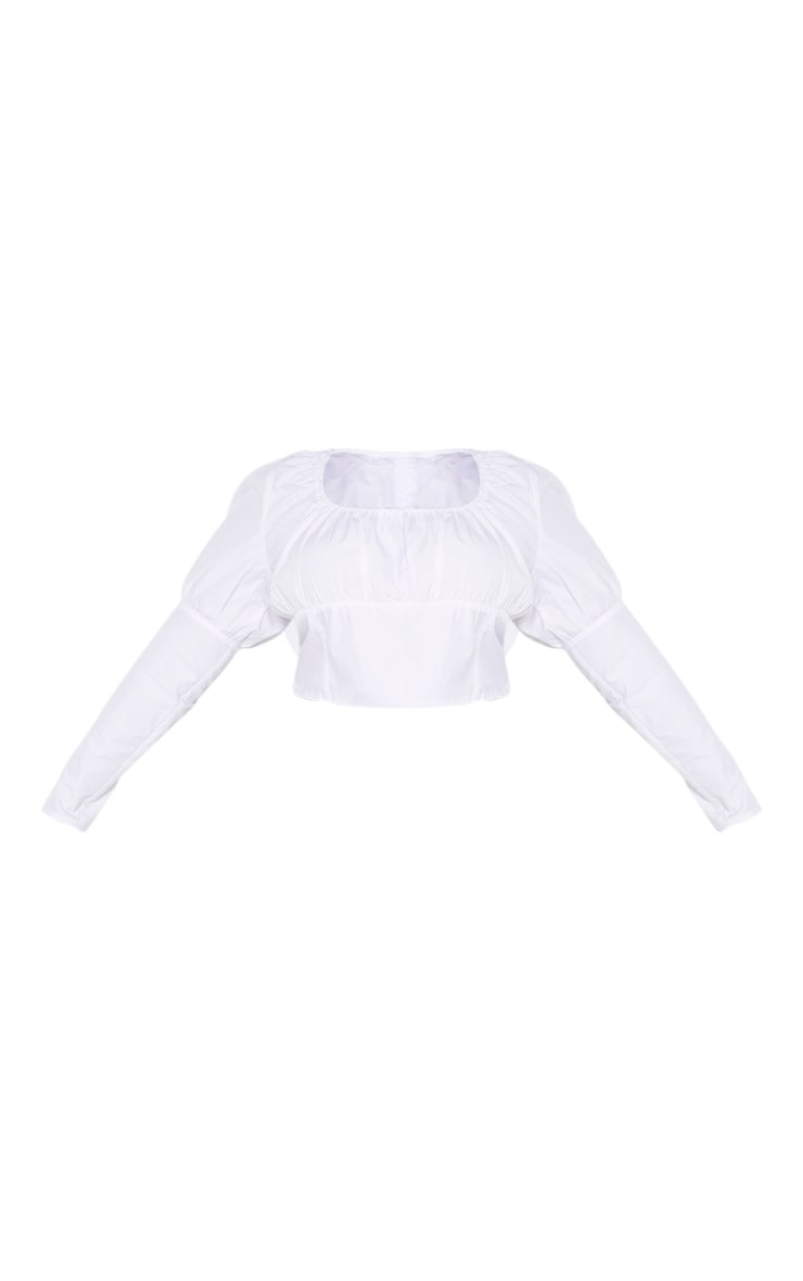 Plus White Puff Sleeve Detail Crop Top 3