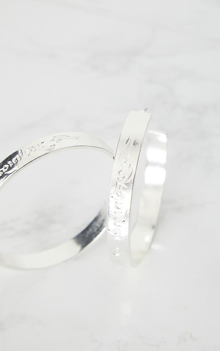 Silver Script Chunky Hoop Earrings 4