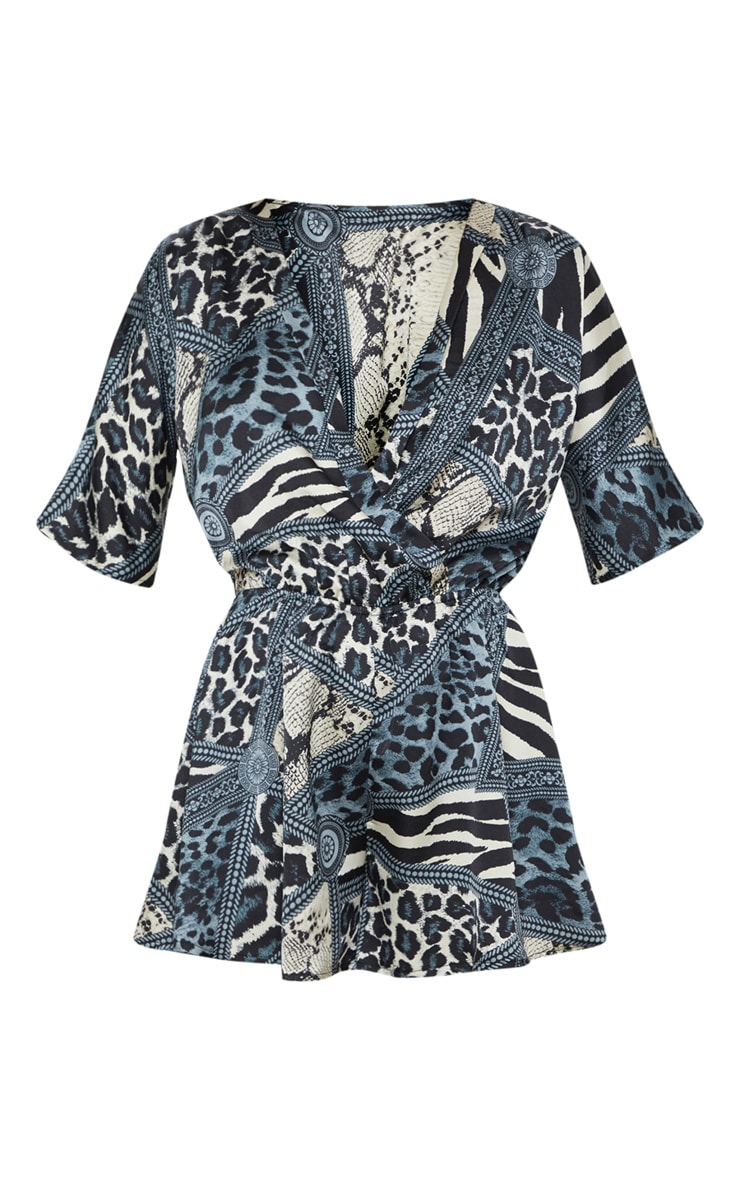 Black Chain Print Wrap Front Playsuit 3