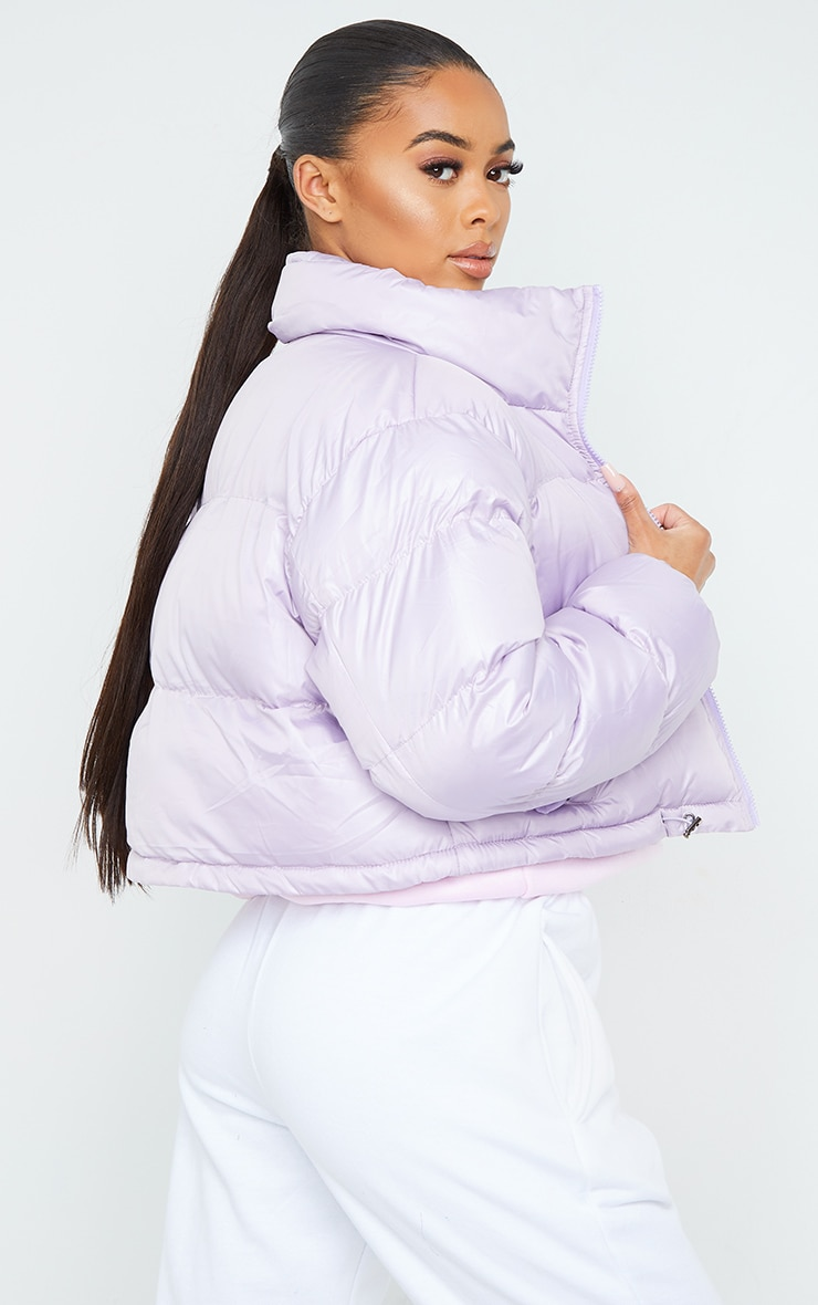 Dusty Lilac Nylon Toggle Hem Puffer Jacket 2