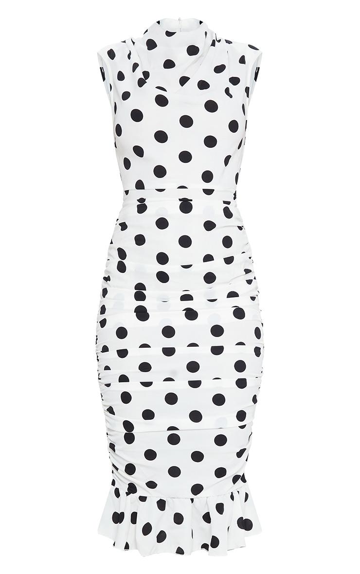 White Polka Dot Sleeveless Ruched Fishtail Midi Dress 5